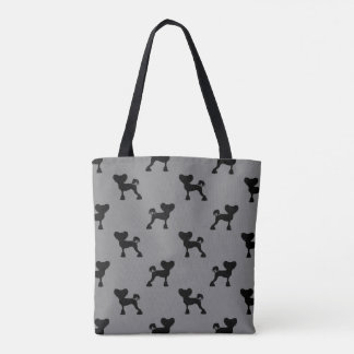 Chinese Crested Silhouettes Pattern Grey Tote Bag