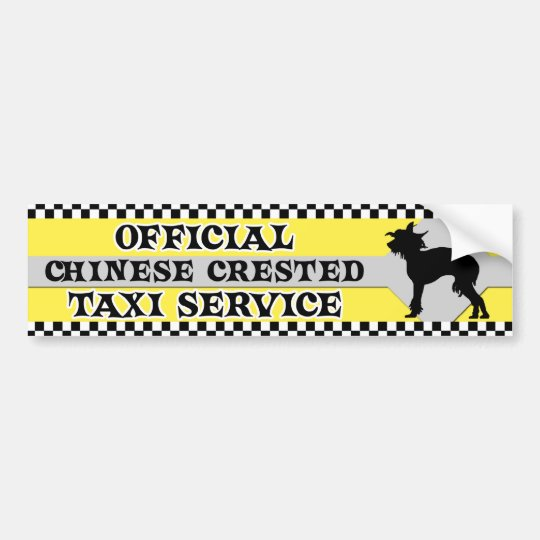 Chinese Crested Taxi Service Bumper Sticker