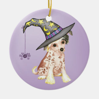 Chinese Crested Witch Christmas Ornament