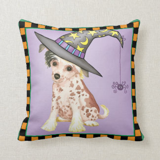 Chinese Crested Witch Throw Pillow