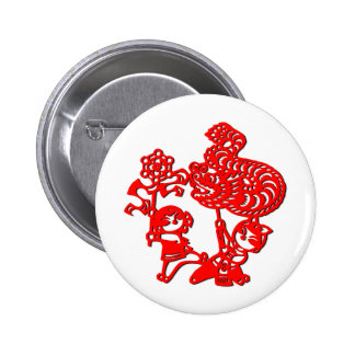 Chinese culture dragon dance in red buttons