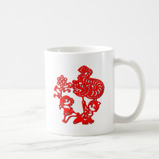 Chinese culture : dragon dance (in red) coffee mug