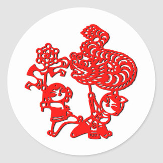 Chinese culture : dragon dance (in red) stickers