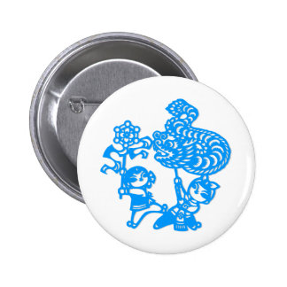Chinese culture : dragon dance pinback button