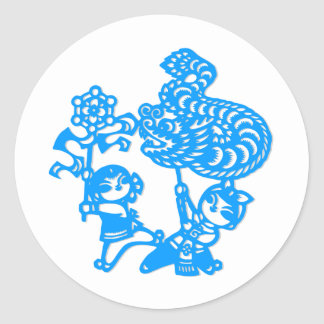 Chinese culture : dragon dance round sticker