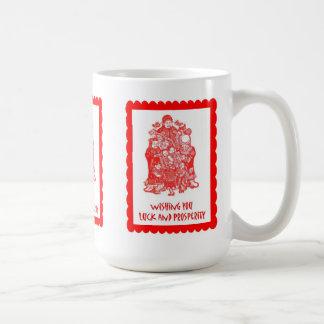 Chinese cutwork, mandarin group coffee mugs