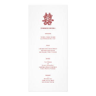 Chinese Double Happiness Chic Floral Wedding Menu