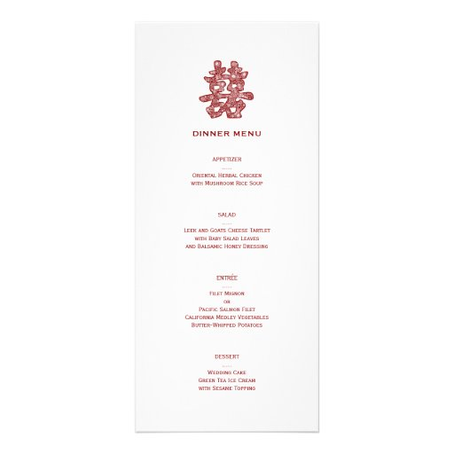 Chinese Double Happiness Chic Floral Wedding Menu Rack Card Design