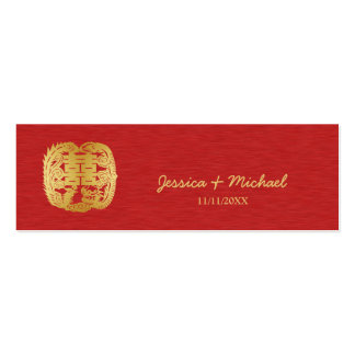 Chinese Double Happiness Dragon / Phoenix Pack Of Skinny Business Cards