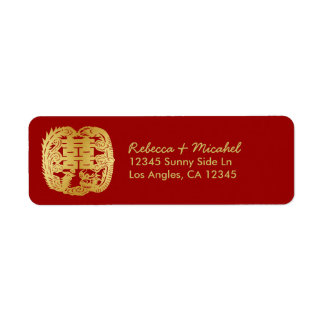 Chinese Double Happiness Dragon / Phoenix Return Address Label