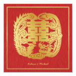 Chinese Double Happiness Dragon / Phoenix Wedding 13 Cm X 13 Cm Square Invitation Card