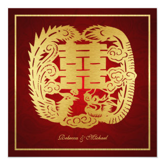 """Chinese Double Happiness Dragon / Phoenix Wedding 5.25"""" Square Invitation Card"""