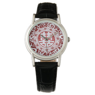 Chinese Double Happiness - Red and White Wrist Watches
