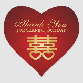 Chinese Double Happiness thank you Heart Stickers