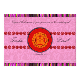 Chinese double happiness wedding invitation card