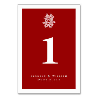 Chinese Double Happiness Wedding Table Number Card Table Cards