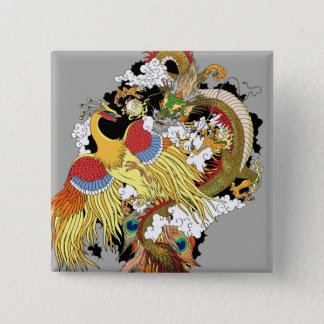 chinese dragon and phoenix 15 cm square badge