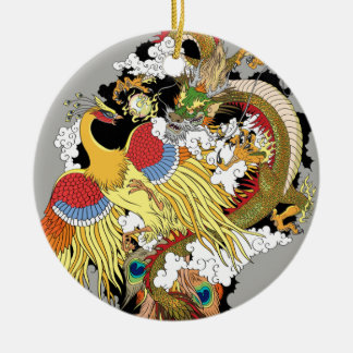 Chinese dragon and phoenix christmas ornament