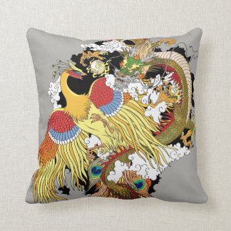 Chinese dragon and phoenix cushion