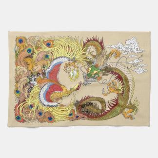 Chinese dragon and phoenix tea towel