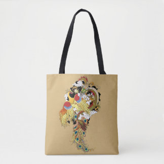 Chinese dragon and phoenix tote bag