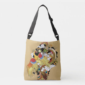 Chinese dragon ang golden phoenix crossbody bag