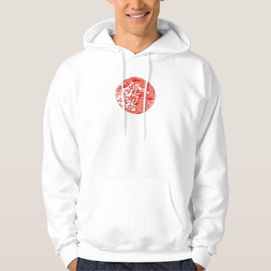 chinese dragon circle with Lettering on Back Hoodie