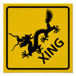 Chinese Dragon Crossing Highway Sign