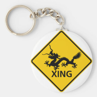 Chinese Dragon Crossing Highway Sign Basic Round Button Key Ring