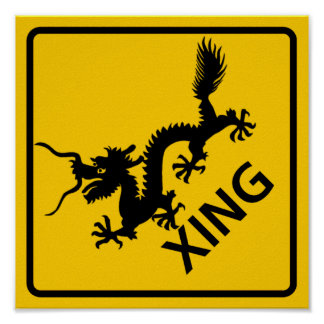 Chinese Dragon Crossing Highway Sign Posters