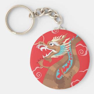 Chinese Dragon Design Basic Round Button Key Ring