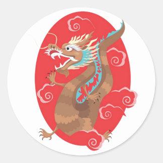 Chinese Dragon Design Round Sticker