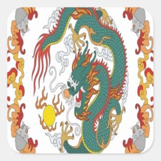 Chinese dragon design square stickers