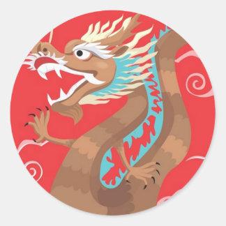 Chinese Dragon Design Round Stickers