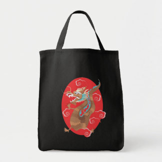 Chinese Dragon Design Grocery Tote Bag