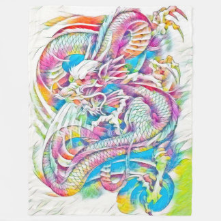 Chinese Dragon Fantasy Watercolor Fleece Blanket