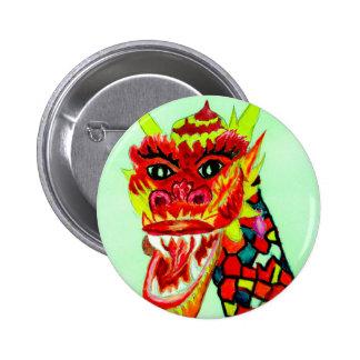 Chinese Dragon Head 6 Cm Round Badge
