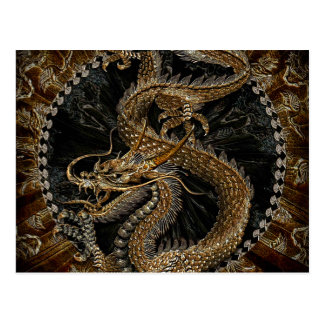 Chinese Dragon in Textured Brown Postcard