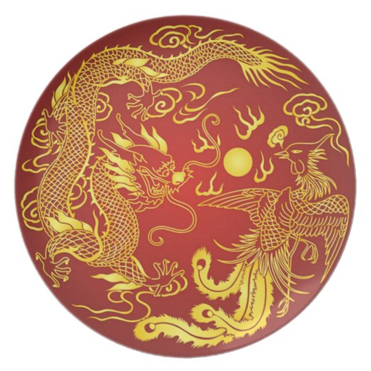 Chinese Dragon Phoenix Red Gold Vintage Plate