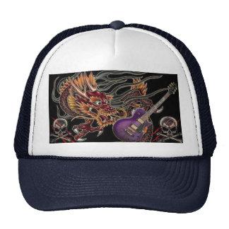 Chinese Dragon Purple Guitar Skull Crossbone Hat