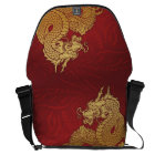 Chinese Dragon Red Gold Courier Bag