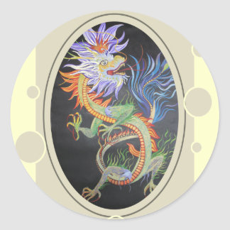 Chinese Dragon Round Sticker