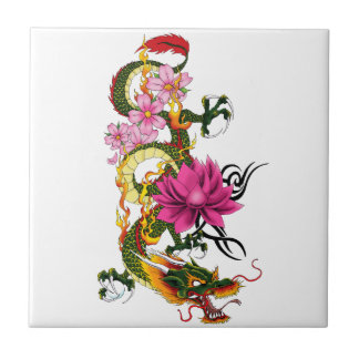 Chinese Dragon Small Square Tile