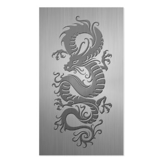 Chinese Dragon, Stainless Steel Effect Business Cards