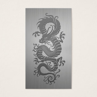 Chinese Dragon, Stainless Steel Effect Business Card