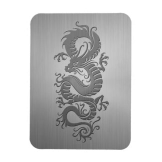 Chinese Dragon, Stainless Steel Effect Rectangular Photo Magnet