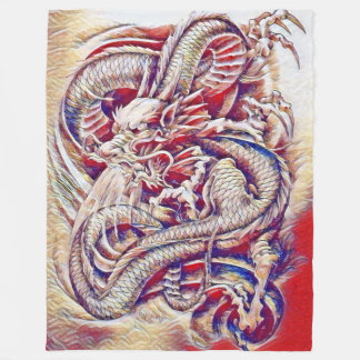 Chinese Dragon Watercolor Fleece Blanket