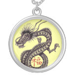 Chinese dragon with good luck symbol necklace