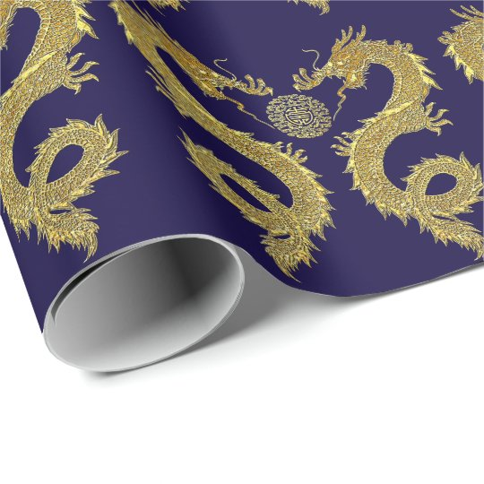 Chinese Dragons Prosperity Symbol Your Colour Wrapping Paper