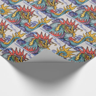 Chinese DragonTile Art Colorful Wrapping Paper
